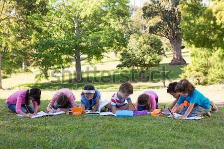 Praca domowa trawy dziewczyna szkoły Zdjęcia stock © wavebreak_media