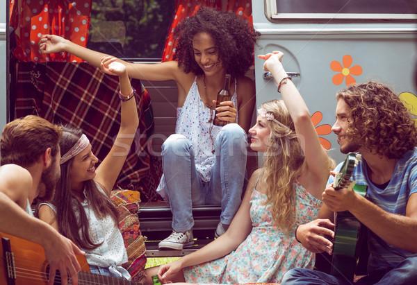 Stock fotó: Hipszter · barátok · lakókocsi · furgon · fesztivál · autó