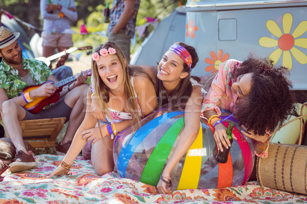 Happy hipsters having fun on campsite Stock photo © wavebreak_media