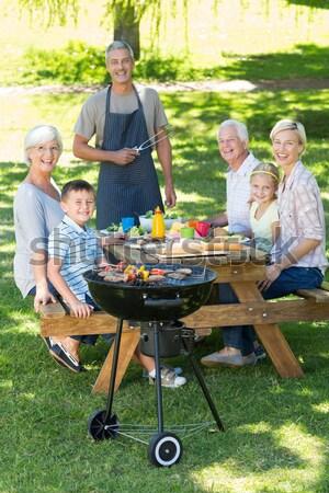 Boldog nagyapa barbecue napos idő tavasz férfi Stock fotó © wavebreak_media