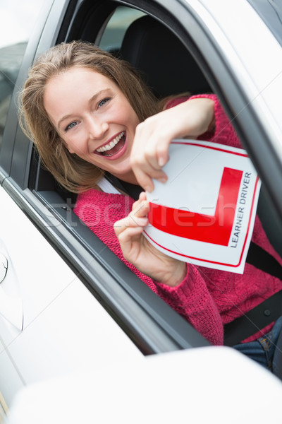笑みを浮かべて プレート 車 女性 ストックフォト © wavebreak_media