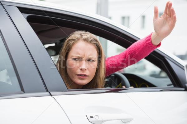 Foto stock: Mulher · jovem · estrada · raiva · carro · feminino · transporte