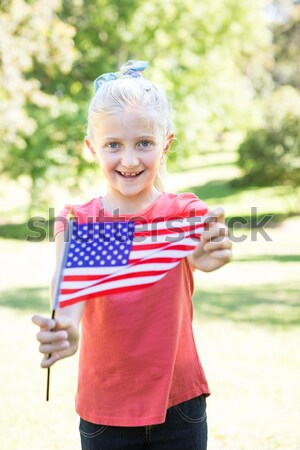Pequeno menino bandeira americana primavera Foto stock © wavebreak_media