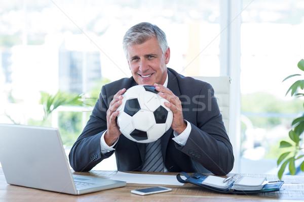 笑みを浮かべて ビジネスマン サッカーボール オフィス 男 ストックフォト © wavebreak_media