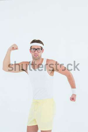 Stwarzające odzież sportowa szary człowiek szczęśliwy Zdjęcia stock © wavebreak_media