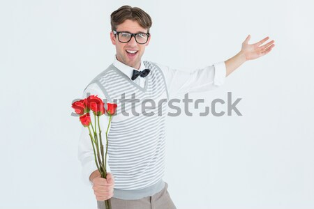 Hipszter tart köteg rózsák szürke férfi Stock fotó © wavebreak_media
