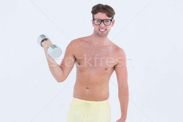 Hipszter pózol topless súlyzó fehér fitnessz Stock fotó © wavebreak_media