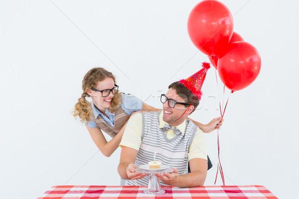 ヒップスター カップル 祝う 歳の誕生日 白 ケーキ ストックフォト © wavebreak_media