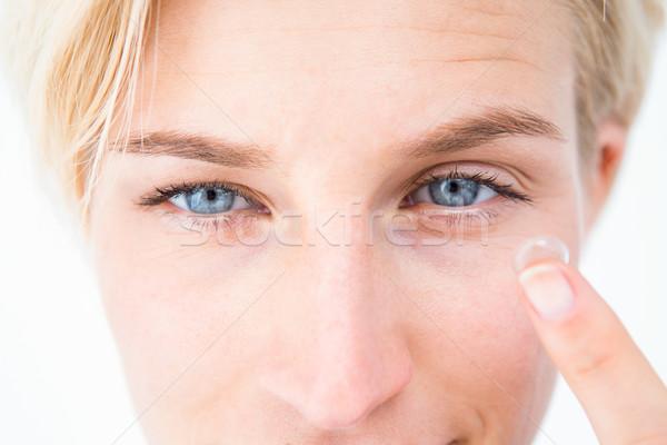 Dość szkło kontaktowe biały kobiet Zdjęcia stock © wavebreak_media