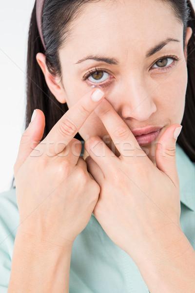 Brunette lentilles de contact blanche femme peau Homme Photo stock © wavebreak_media