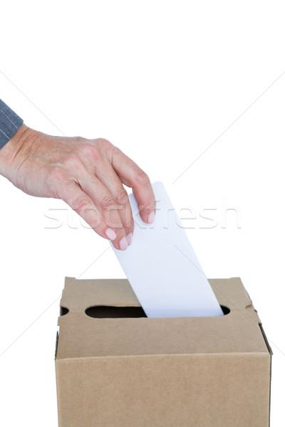 Biznesmen głosowanie głosowania polu biały kobieta Zdjęcia stock © wavebreak_media