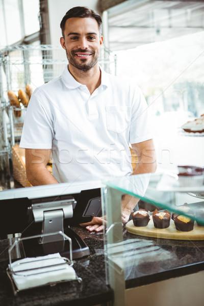 улыбаясь работник позируют за борьбе хлебобулочные Сток-фото © wavebreak_media
