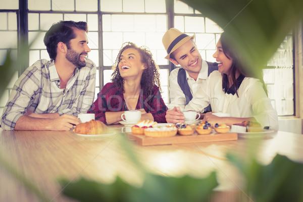 смеясь друзей кофе кофейня Сток-фото © wavebreak_media