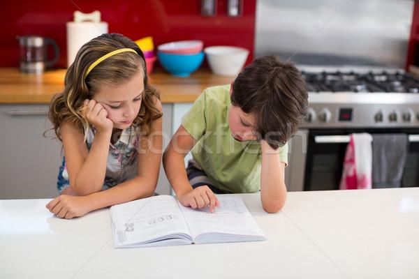 Testvérek olvas könyv konyha otthon lány Stock fotó © wavebreak_media