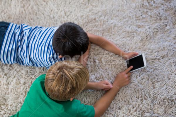 Testvérek szőnyeg mobiltelefon nappali otthon gyermek Stock fotó © wavebreak_media