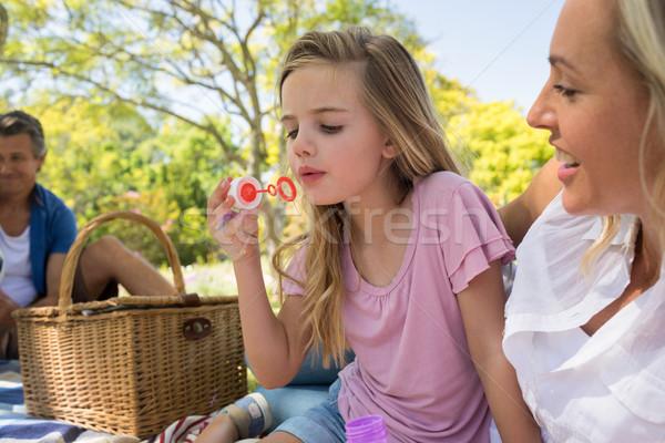 Anya lánygyermek fúj buborék piknik park Stock fotó © wavebreak_media