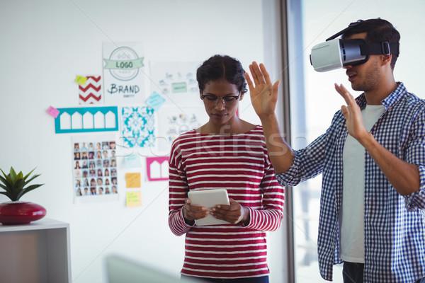 Stock fotó: Női · kolléga · férfi · virtuális · valóság · headset