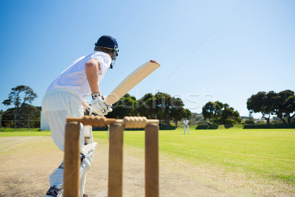Side view of cricket player batting while playing on field Stock photo © wavebreak_media
