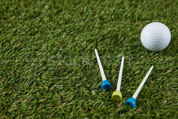 Golf ball with tee on grassy field Stock photo © wavebreak_media