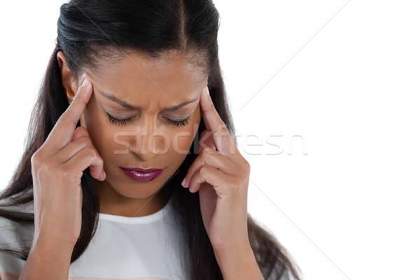 üzletasszony fejfájás közelkép zöld igazgató fájdalom Stock fotó © wavebreak_media