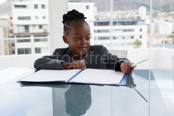 Smiling businesswoman with file and pen sitting at conference table Stock photo © wavebreak_media