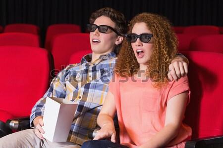 Mutlu çift patlamış mısır izlerken film tiyatro Stok fotoğraf © wavebreak_media