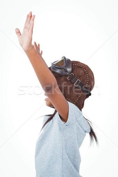 Vista lateral menina brasão piloto branco tela Foto stock © wavebreak_media