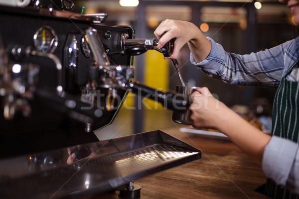 Smiling barista making hot milk with coffee machine Stock photo © wavebreak_media
