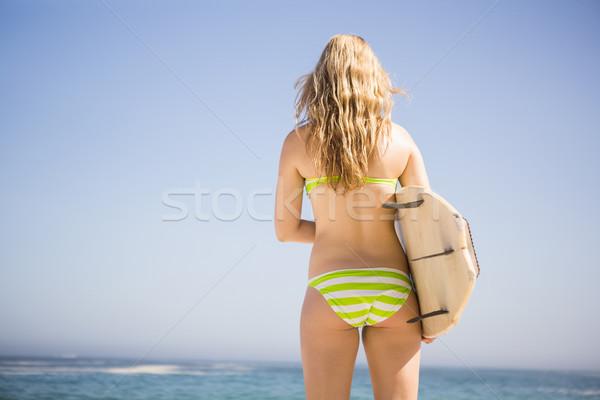 Sarışın kadın sörf plaj kadın okyanus Stok fotoğraf © wavebreak_media