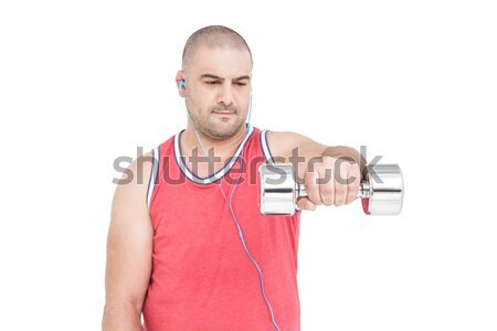 спортсмена гантели белый человека фитнес Сток-фото © wavebreak_media