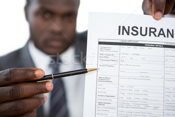 Foto stock: Empresário · seguro · documento · negócio