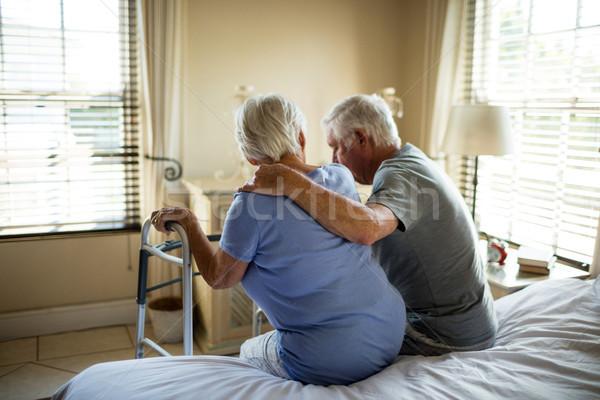 Senior man consoling woman in bedroom Stock photo © wavebreak_media