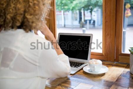 Achteraanzicht vrouw met behulp van laptop cafetaria technologie tabel Stockfoto © wavebreak_media