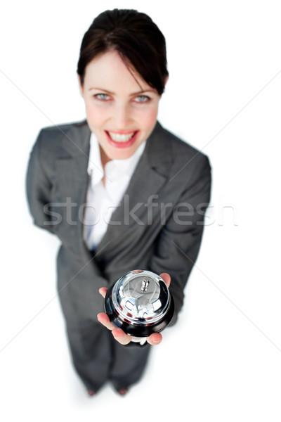 Charmant kaukasisch zakenvrouw tonen dienst bel Stockfoto © wavebreak_media