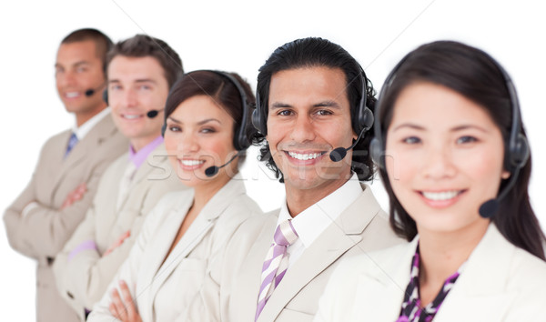 Jovem atendimento ao cliente em pé branco cara Foto stock © wavebreak_media