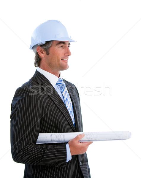 Portré érett férfi építész fehér építkezés Stock fotó © wavebreak_media