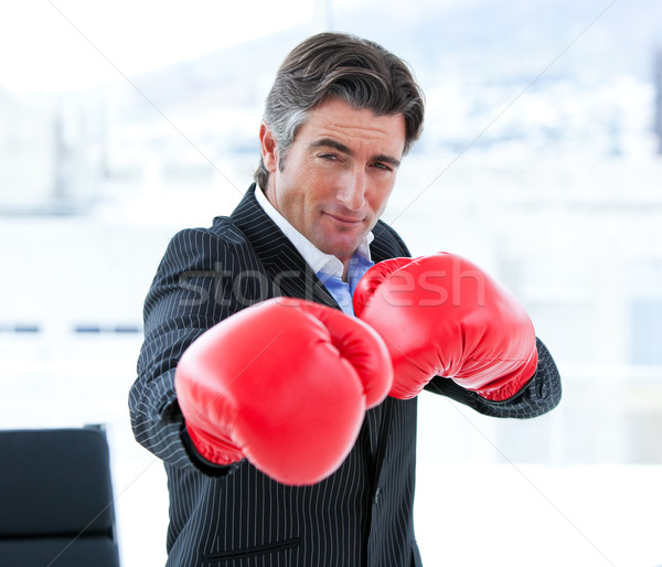 Furious businessman wearing boxing gloves Stock photo © wavebreak_media