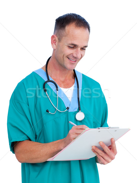 Portrait a handsome male doctor writing notes Stock photo © wavebreak_media