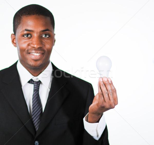 бизнесмен улыбаясь камеры женщину Сток-фото © wavebreak_media