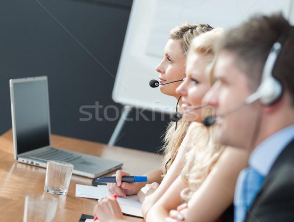 бизнес-команды Call Center бизнеса заседание бизнесмен наушники Сток-фото © wavebreak_media