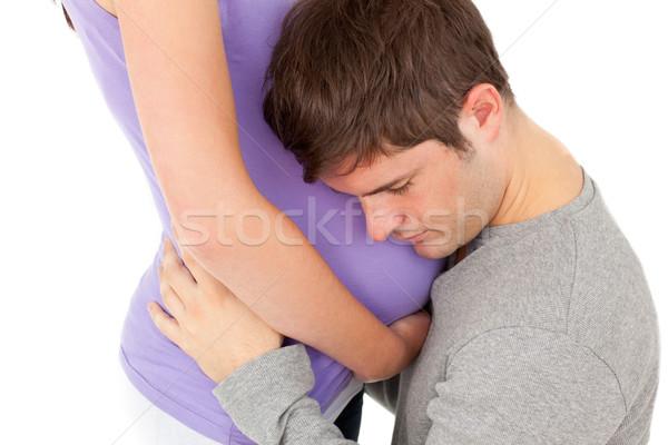 Junger Mann hören vorsichtig Bauch Ehefrau Stock foto © wavebreak_media
