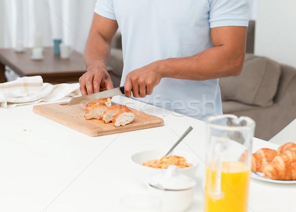Man brood ontbijt keuken Stockfoto © wavebreak_media