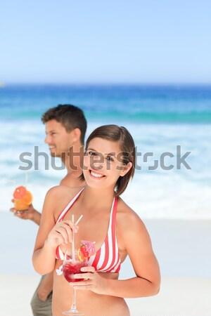Stock fotó: Gyönyörű · pár · iszik · koktélok · úszómedence · víz