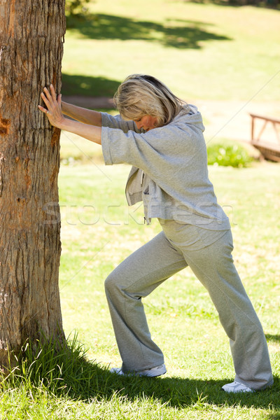 érett nő park nő egészség női személy Stock fotó © wavebreak_media