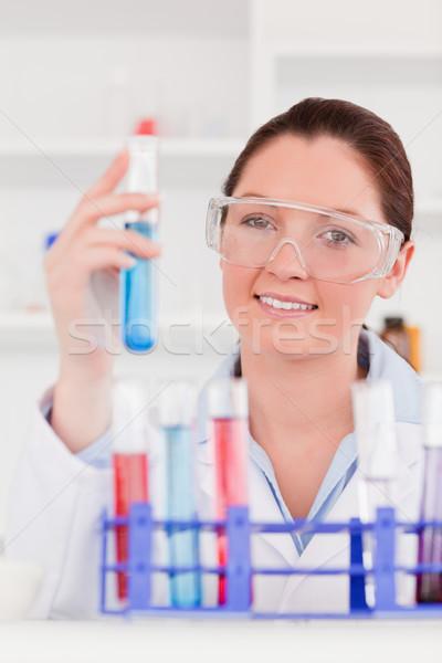 Portré aranyos tudós kémcső orvos üveg Stock fotó © wavebreak_media