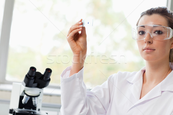 Belo ciência estudante microscópio deslizar Foto stock © wavebreak_media