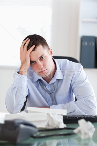 Close up of frustrated businessman being unhappy about accounting Stock photo © wavebreak_media