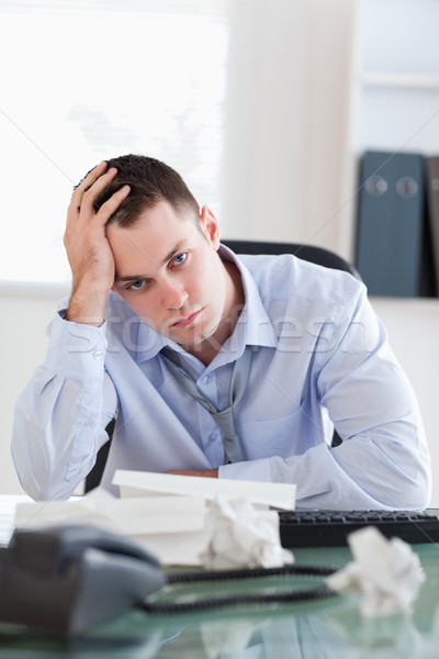 Close up of unhappy businessman being depressed by accounting Stock photo © wavebreak_media
