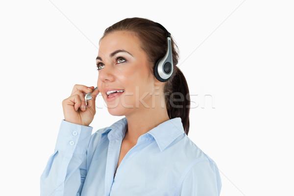 Call Center агент глядя говорить белый улыбка Сток-фото © wavebreak_media