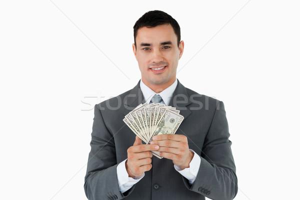 Işadamı banka notlar beyaz iş el Stok fotoğraf © wavebreak_media